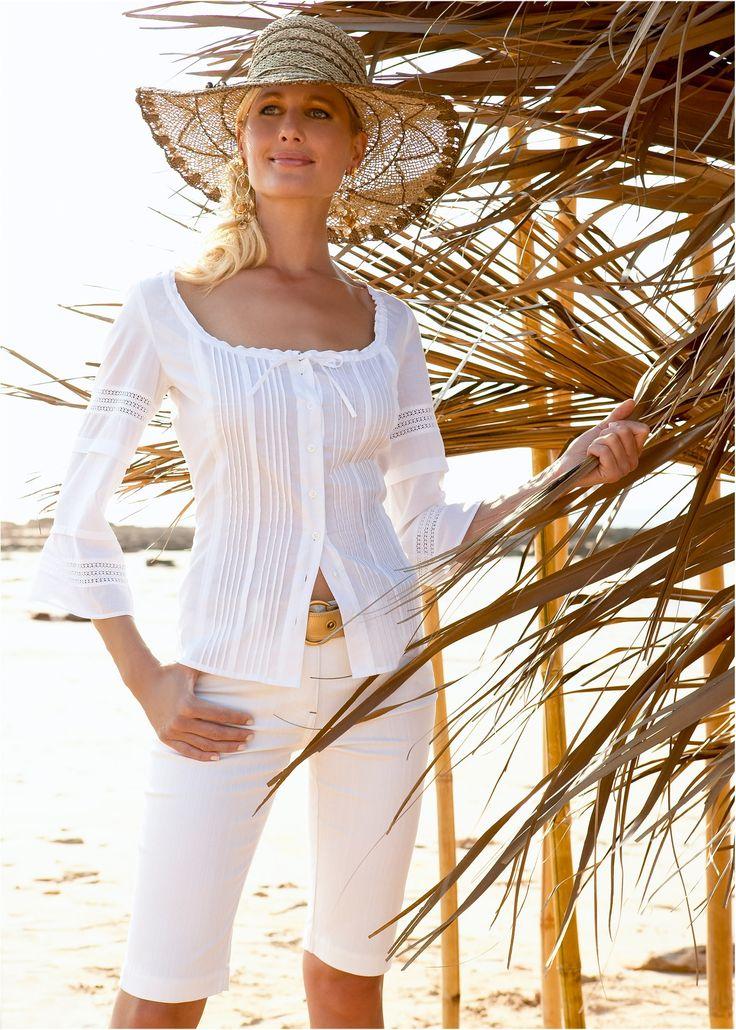 Blusa branco encomendar agora na loja on-line bonprix.de  R$ 89,90 a partir de Puro romantismo em algodão delicado. Com vários detalhes charmosos: plissado ...