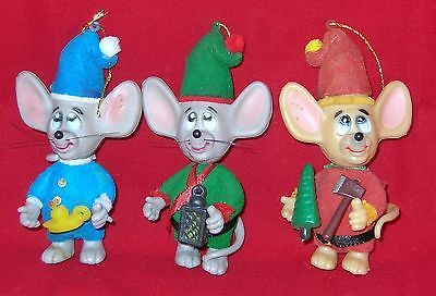 Vintage FLOCKED CHRISTMAS MICE MOUSE MOVABLE HEADS & TAILS SHELF SITTERS