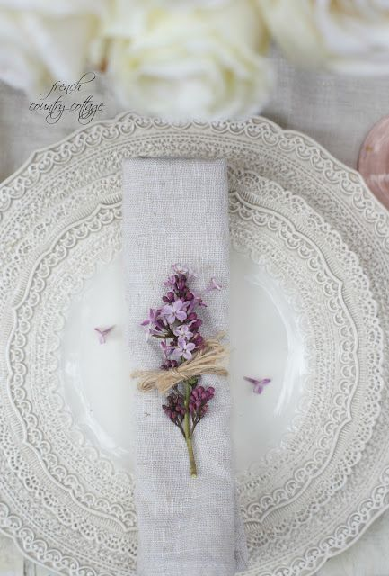 lace dishes with lilacs Mother's Day brunch table setting  Wedding flowers vintage