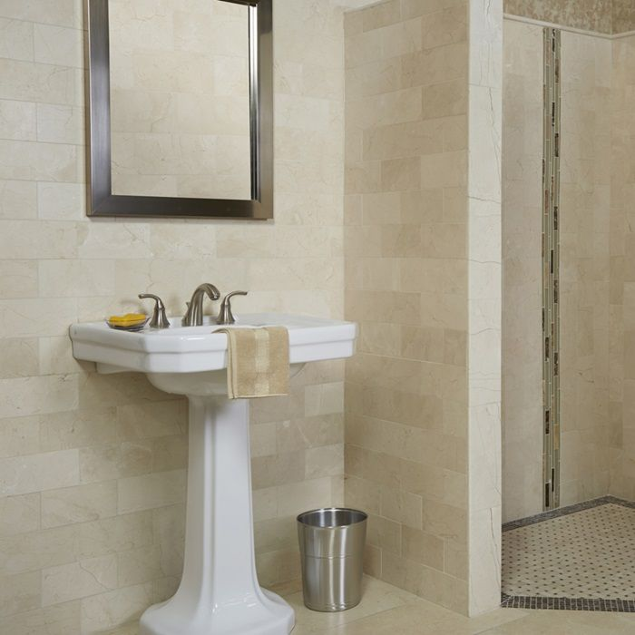 Crema marfil natural stone marble slab tile arizona for Crema marfil bathroom designs