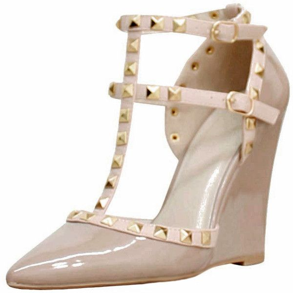 Nude Patent Leather Wedge Pumps Studs Ankle Strap (53 CAD) ❤ liked on Polyvore featuring shoes, pumps, beige, beige wedge shoes, wedges shoes, beige pumps, studded pumps and patent pumps