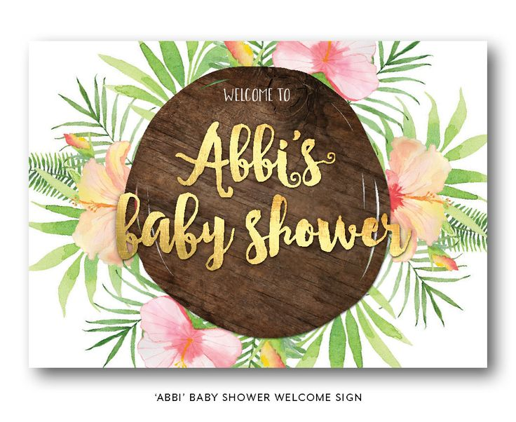 Tropical baby shower welcome sign, tropical shower welcome sign, baby shower welcome sign, beach, Hawaiian, peach and gold, floral (Abbi) by FrankieBearDesigns