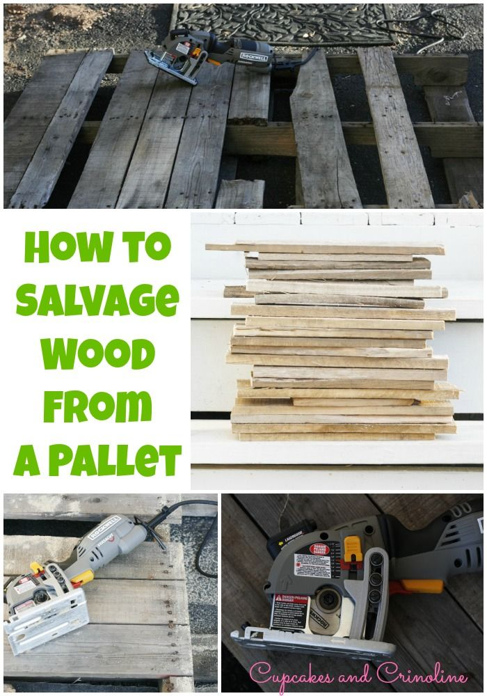 How to take apart a pallet easily for usable DIY wood. cupcakesandcrinoline.com #pallets #RockwellVersaCut #Rockler AD