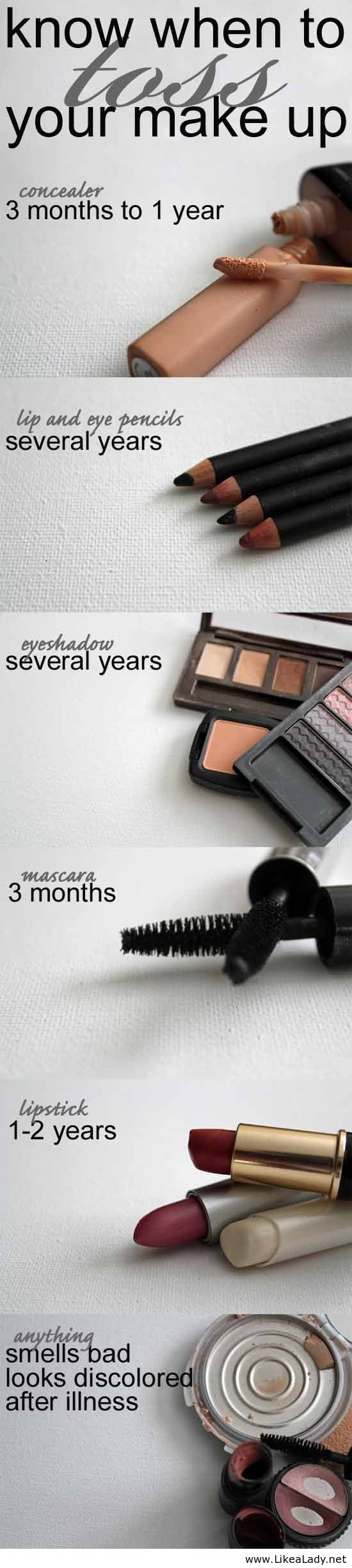 Make sure you know when it's time to throw your make up away