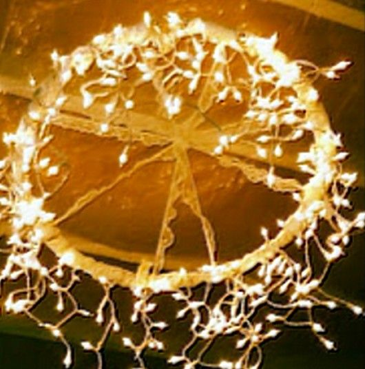 Hula Hoop Chandelier With Icicle Lights | The WHOot