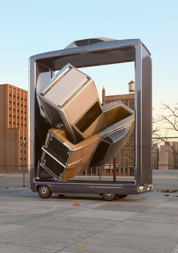 English designer Chris LaBrooy created a series of bizarre CGI digital sculptures called Auto Aerobics.