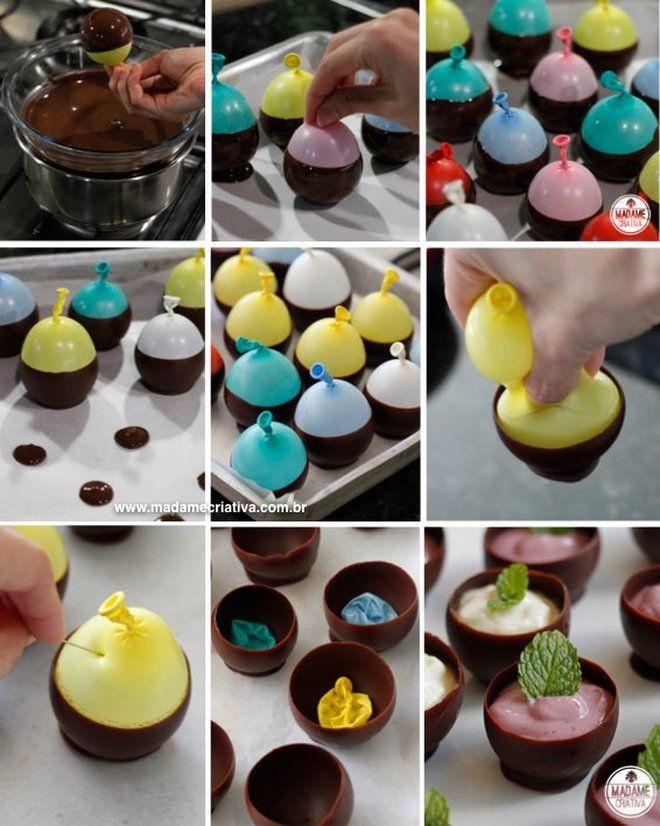 Receita cumbucas de chocolate -  Dicas de como fazer - Passo a passo com fotos - Tutorial with pictures - chocolate little bowls - DIY  - Ma...