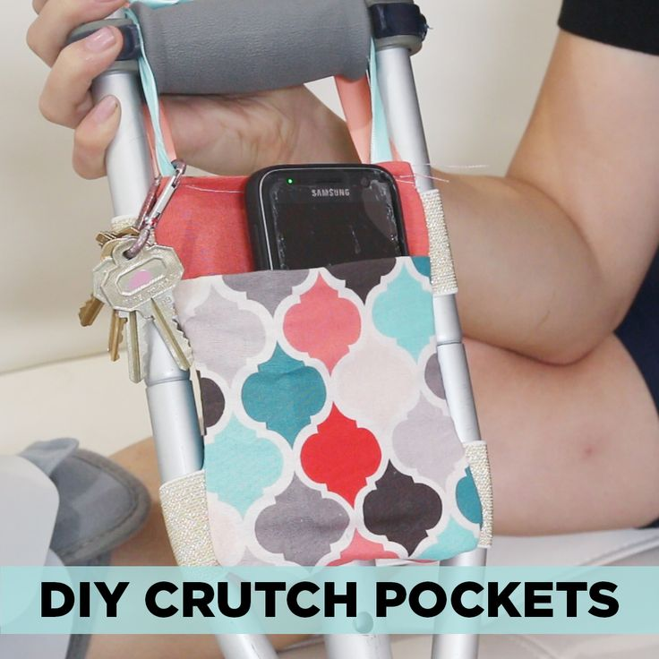 Turn your crutches into a catchall for your phone, wallet, and keys with these DIY pockets!