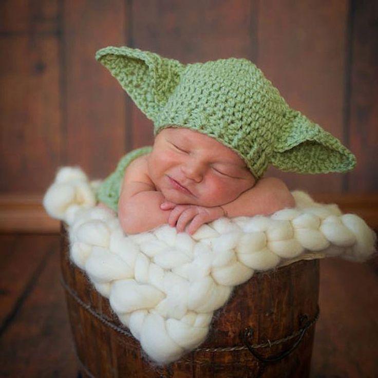 2016 горячая звездные войны йода наряды младенца вязания крючком йода костюм новорожденный ребенок йода фотографии реквизита вязаная мультфильм одежда MZS 16027 купить на AliExpress