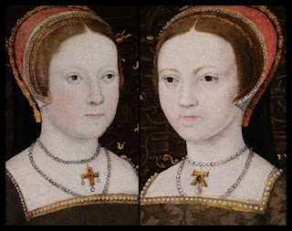"The daughters of Henry VIII. Mary on the left and Elizabeth on the right. Note that Elizabeth is wearing an ""A"" pendant that belonged to her mother Anne Boleyn."