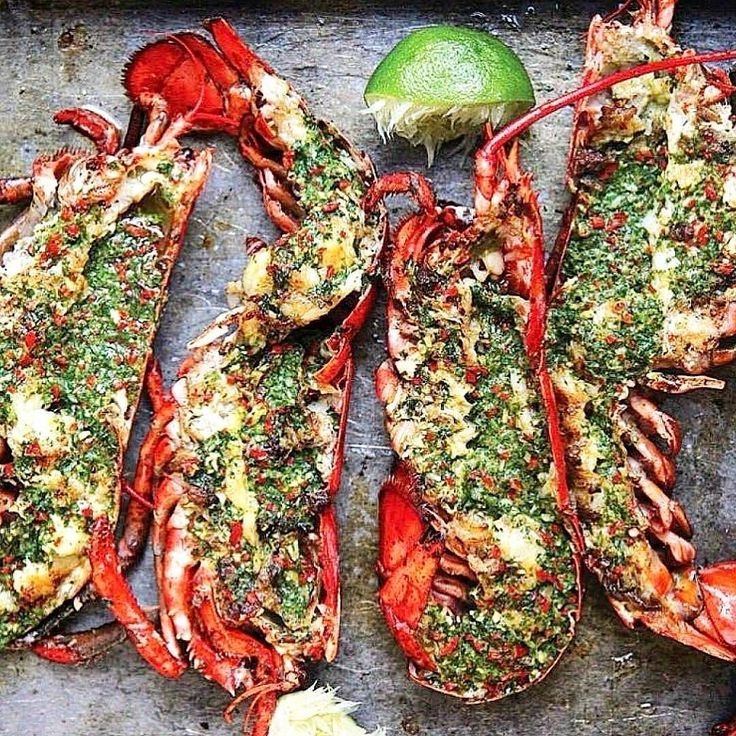 Grilled Lobster on the half shell over livefire with basil pesto lime & a garden of fresh herbs. #phenomenal  @Regrann via @grillinfools | Original via @grillychela  #chef #thai #thailand #thaifood #streetfood #seafood #surfandturf #pescatarian #paleo #organic #paleo #fresh #lobster #instagood #foodstagram #foodporn #beer #bbq #barbecue #grill #grilling #holiday #vacation #adventure #feedme #feedfeed #firemakeseverythingbetter
