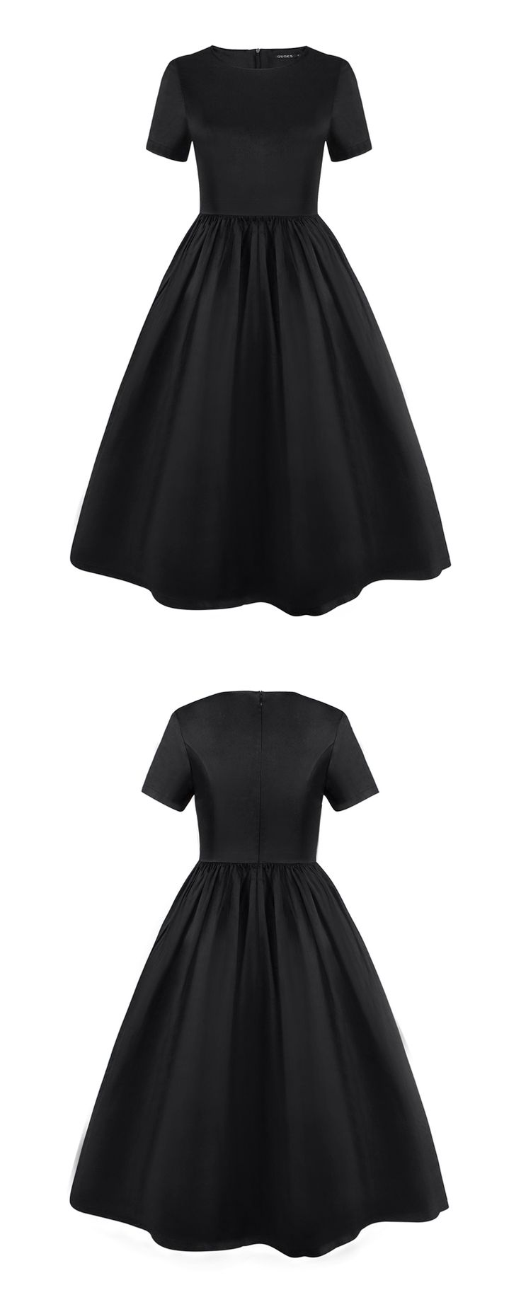 OUGES- Womens 1950s Crew Neck Short Sleeve Vintage Swing Dress- black party dress- $39 at http://www.ouges.net/product/womens-1950s-crew-neck-short-sleeve-vintage-swing-dress/