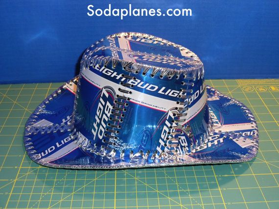 Beer Can Cowboy Hat Hand stitched Made From BUD LIGHT Beer ...