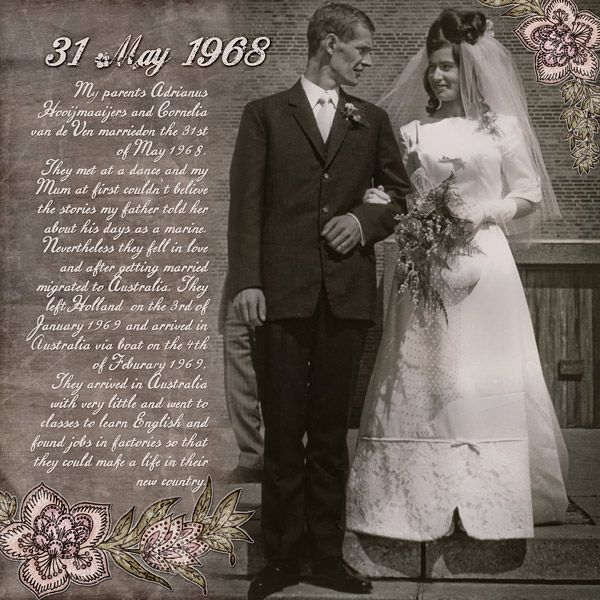 My parents wedding photo. Heritage layout, digital scrapbook layout, genealogy layout, family history month