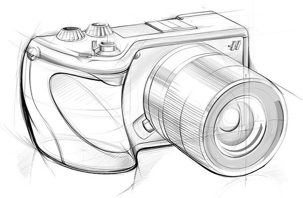 Hasselblad Sony, line drawing.