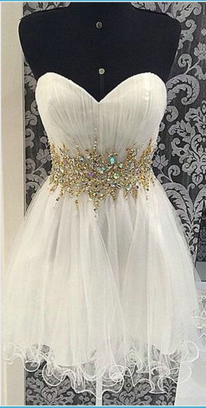 Cheap Ball Gown Homecoming Dresses,Sweetheart Gold Beads White Tulle Homecoming Dress Cocktail Dresses,Short Prom Dress,Wedding Party Dress