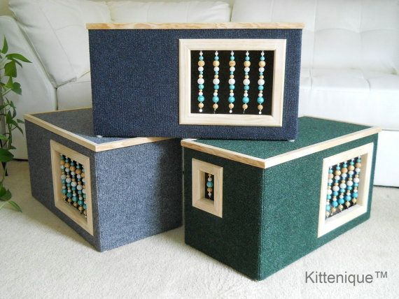 Blue Beaded Cat House Wooden Cat Furniture Unique Beaded