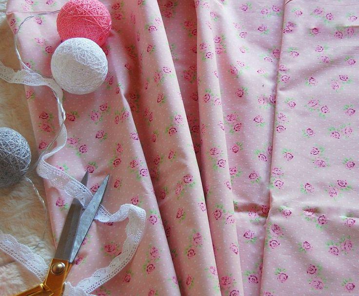 Tkanina drobne różowe różyczki na różowym tilda Fabric cute roses&pink tilda doll