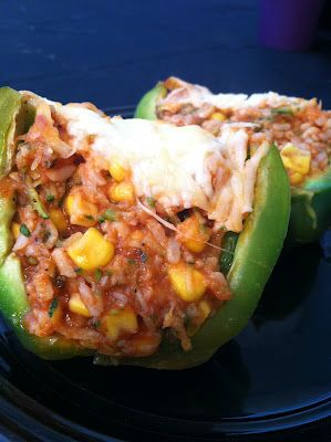 Hearty Vegetarian Stuffed Peppers...NOTES: used quinoa instead of rice, skipped the corn, added meatless meat crumbles (morningstar)...it was good!