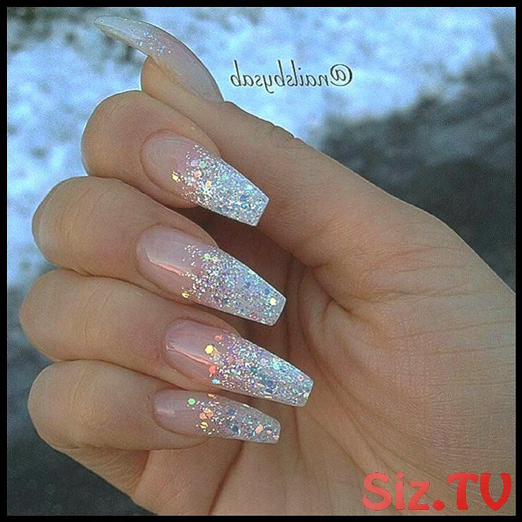 Sparkly Acrylic Nails Coffin 11  Ombre Nails with Clear Rhinestone Accent Nail N…
