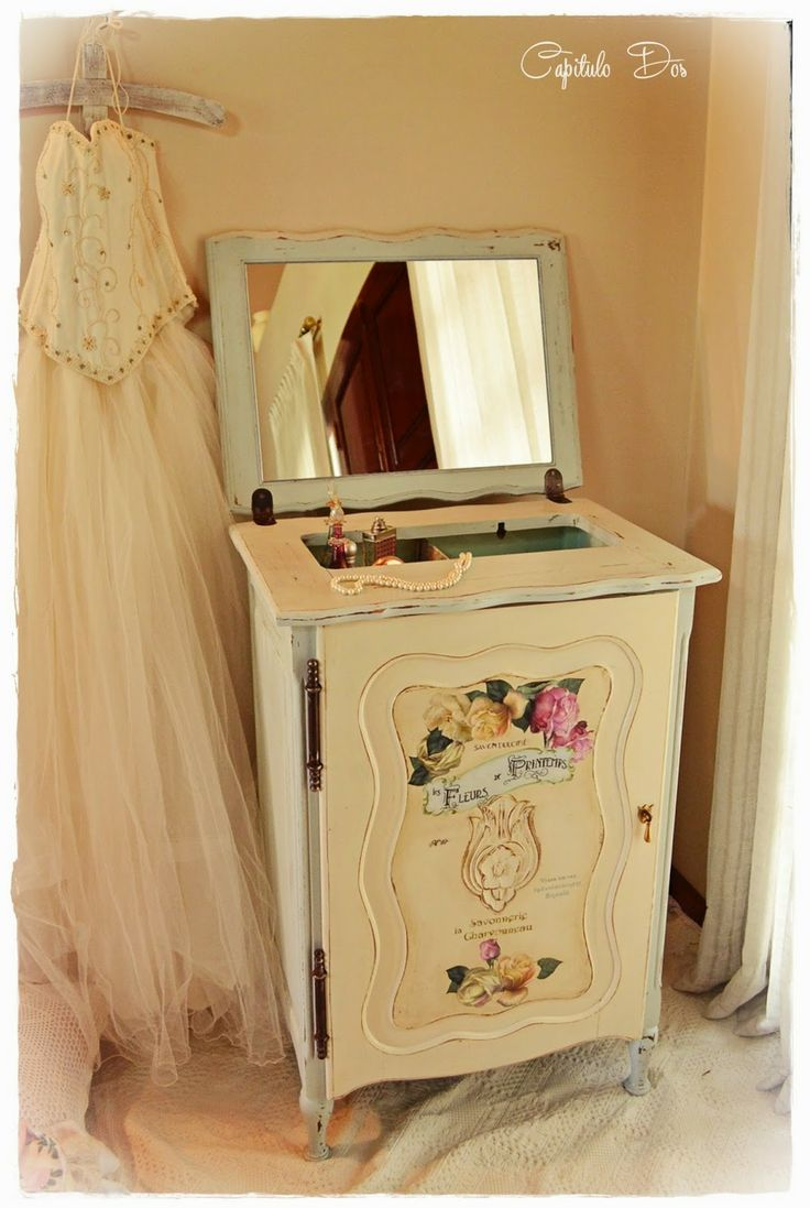 An old sewing machine cabinet upcycled into romantic - Muebles shabby chic ...