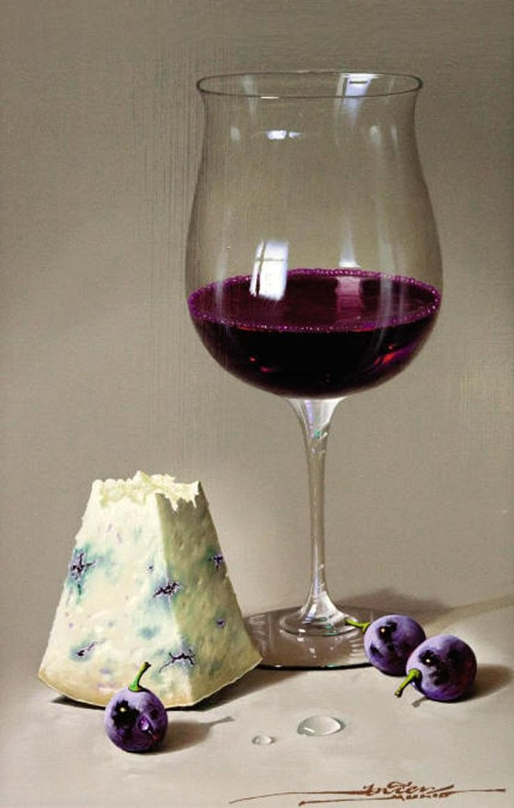 Blue cheese and wine