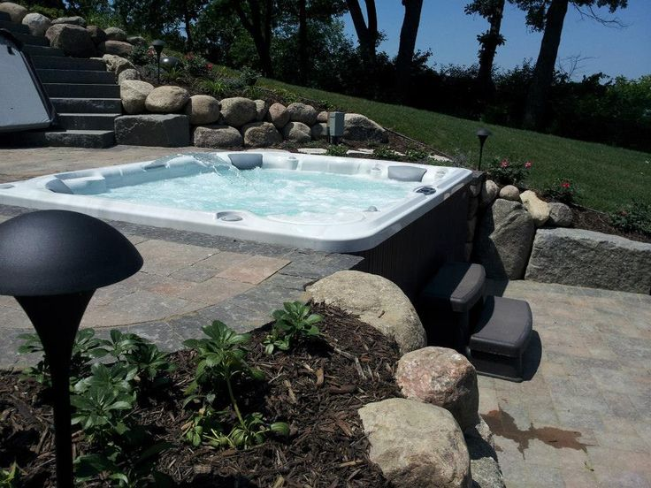 49 best images about hot tub ideas on pinterest for Spa patio designs
