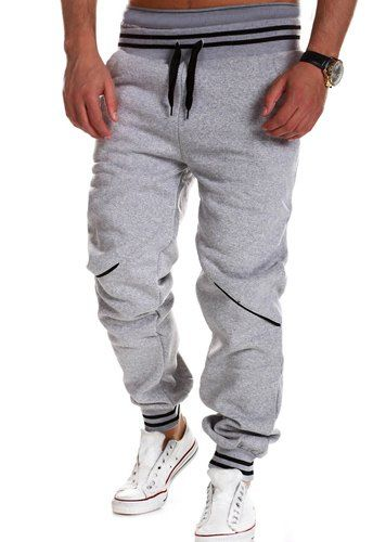$6.80 Casual Beam Feet Color Block Rib Splicing Lace-Up Loose Fit Polyester Sweatpants For Men