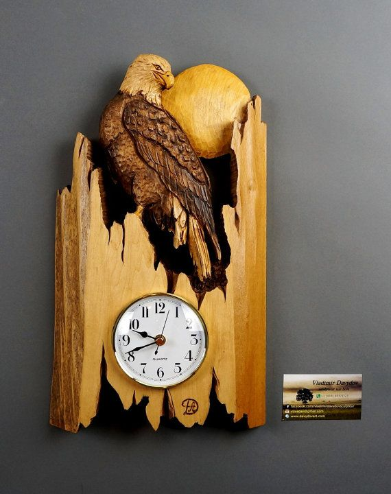 Bald EagleWall clockWood Carving with BarkHand Made by DavydovArt