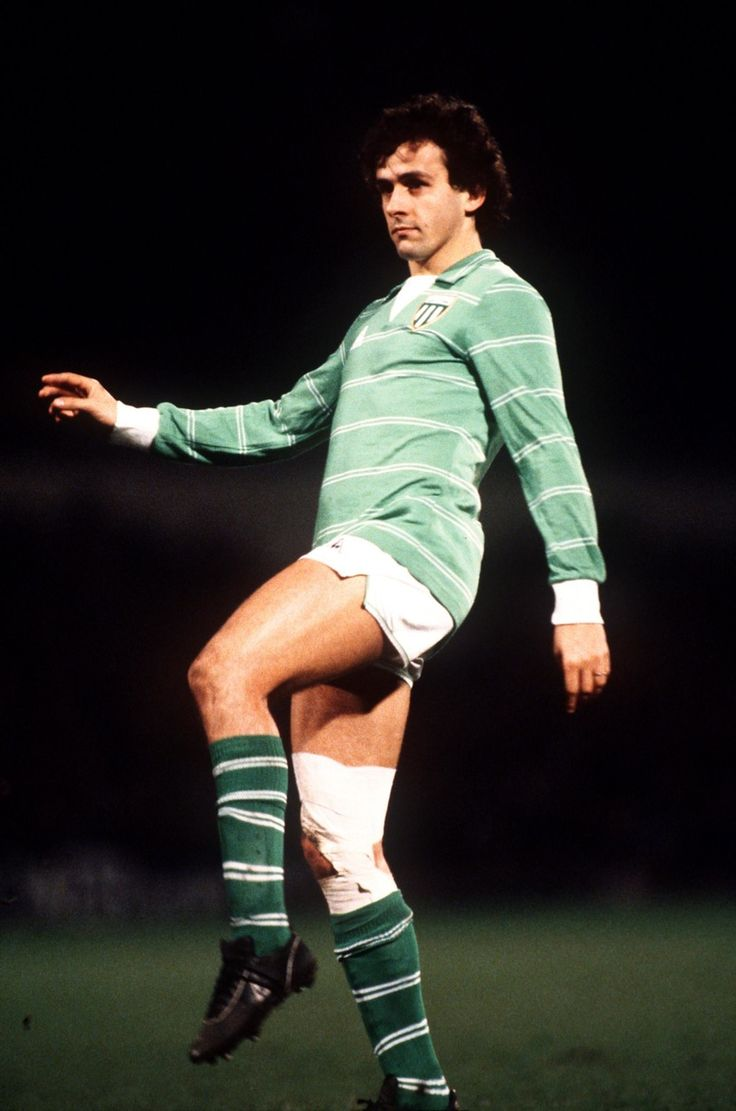 Michel Platini of Saint-Étienne in action against Ipswich Town during the second leg of the 1980/81 UEFA Cup Quarter finals. Portman Road, Ipswich, 18 March 1981.