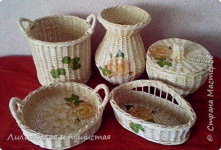 Поделка изделие Плетение Наборчик кухонный Лето Трубочки бумажные фото 1