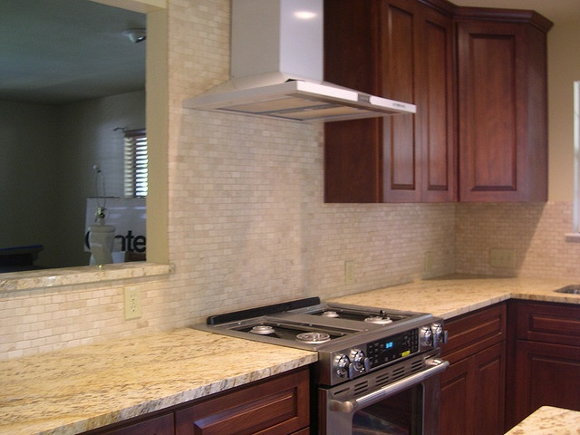 Travertine mosaic backsplash | Travertine tile backsplash