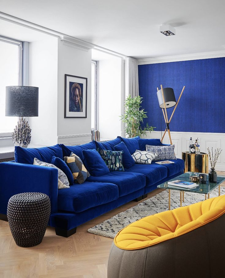 Best Midcentury Style Living Room With Blue Velvet Sofa And 400 x 300