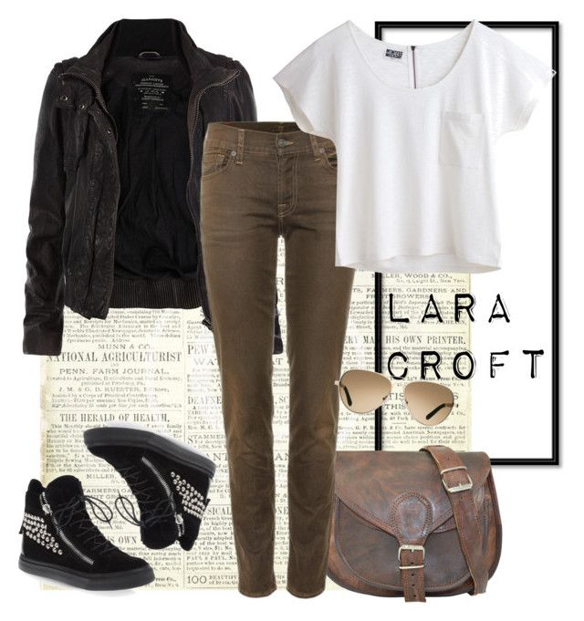 """""""Lara Croft"""" by unarmariodecine ❤ liked on Polyvore featuring AllSaints, 7 For All Mankind, Giuseppe Zanotti, TOMS, tomb raider, lara croft and angelina jolie"""