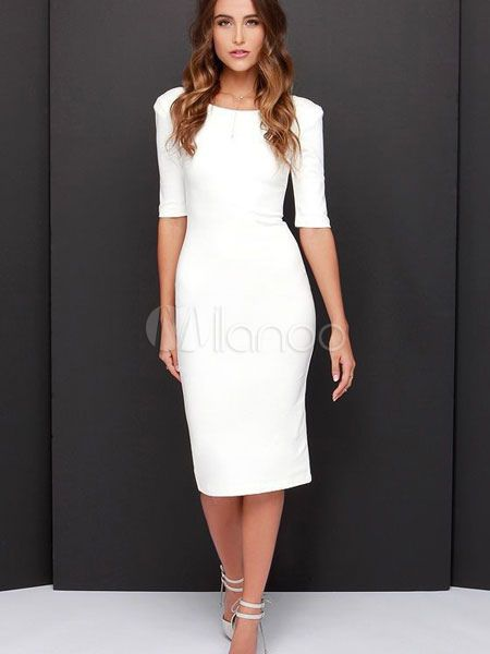 65f891d53884 White Bodycon Dresses Half Sleeve V Back Women s Midi Pencil Dress ...