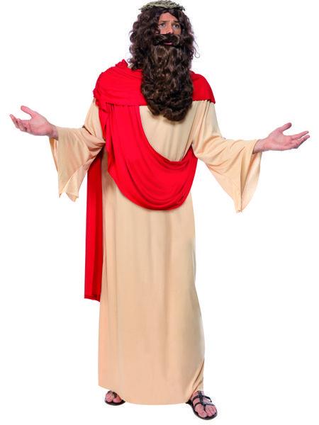 Naamiaisasu; Jeesus  Jeesus voi olla juhlista riippuen yllättävä tai odotettu vieras. Jeesuksen naamiaisasuun kuuluu orjantappurakruunu, joka on Jeesuksen kärsimyksen vertauskuva. Sisältää: - Kaavun - Orjantappura kruunun - Peruukin ja parran