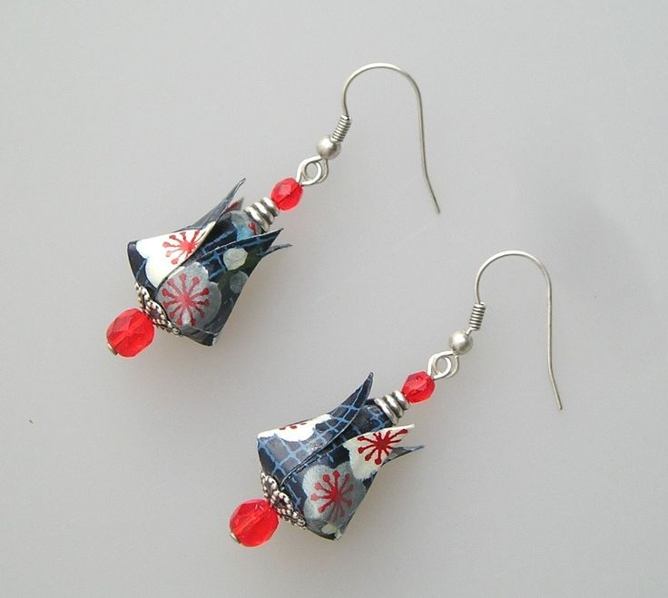 Boucles d'oreilles CLARA origami en papier japonais bleu