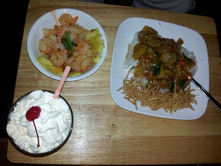 """""""Off the cuff"""" spicy/pineapple shrimp from scratch. Sticky (Nishiki) rice with chicken chow mein and chocolate milk."""