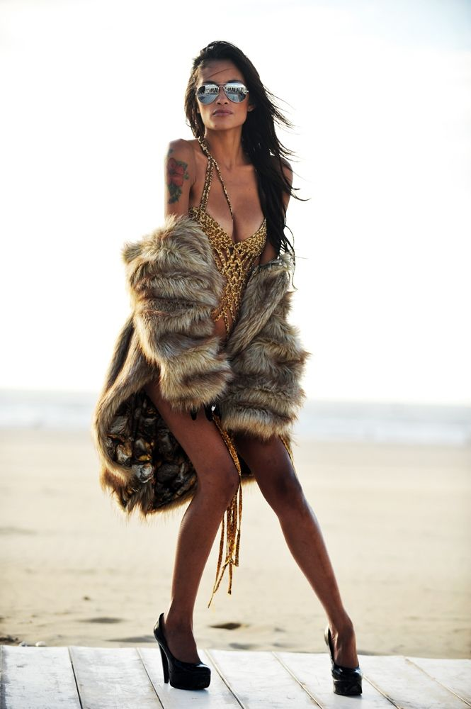 Mytsah faux fur Coat, Mytsah swim couture one piece ...