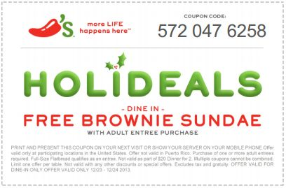 Check out the current deals at Chili's for dine in or to-go here: http://www.bestfreestuffguide.com/Free_Chilis_Coupons