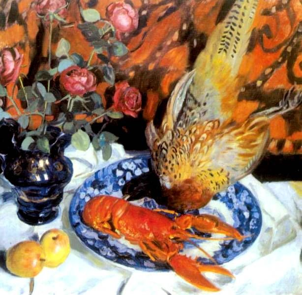Кустодиев Б.М. Натюрморт с фазанами. 1914 г.