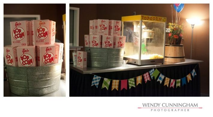 pictures of wedding reception details with a county fair theme including a popcorn machine