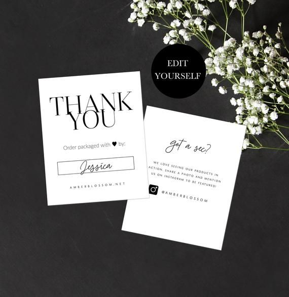 Printable Thank You For Order Inserts Business Thank You Etsy