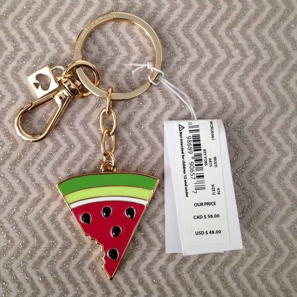 "Kate Spade watermelon keychain NWT Watermelon keychain, gold hardware, approx 4"". PRICE FIRM kate spade Accessories Key & Card Holders"