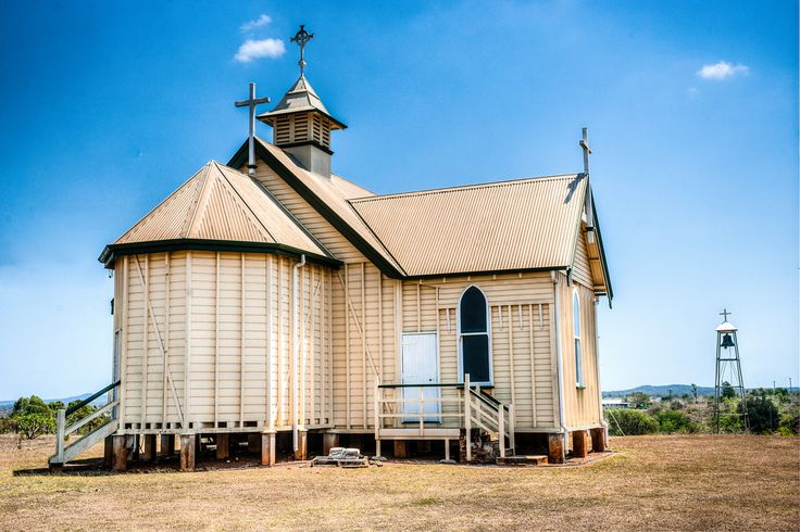 "Another View Of St Pat's | Previously St Patrick's Catholic Church, built in 1871, now the Ravenswood Community Church. I always like to see those typical Queensland ""inside-out"" walls with the studs on the outside."