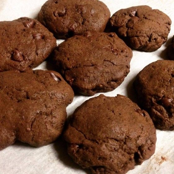 Thick chocolate cookies with milk chocolate chips. These are perfect ...