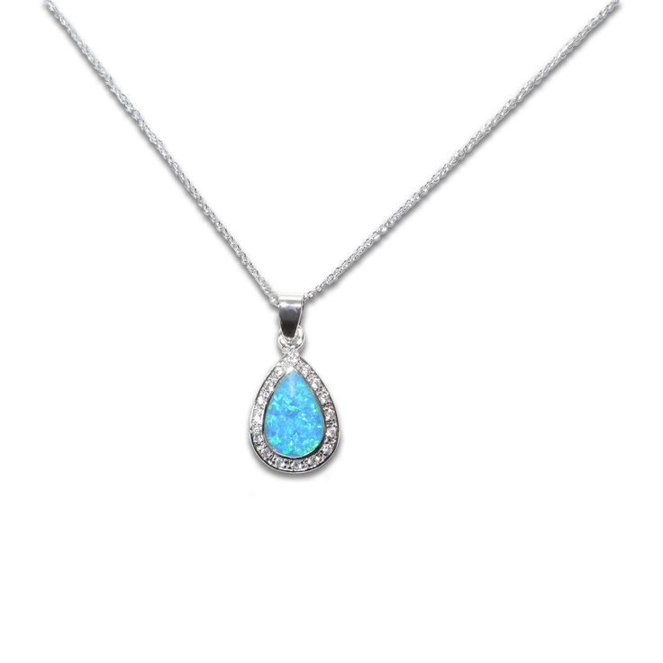 Opulent Teardrop shaped Opal by Fire CZ wrapped in a dazzling string of clear CZ stones (finished in Rhodium)