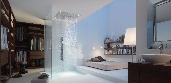 Interieurtrend: badkamer en slaapkamer in één ruimte met de douchecollectie van Axor en Philippe Starck #Hansgrohe