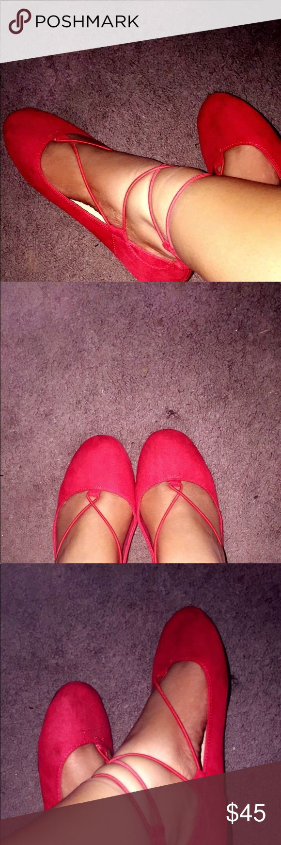 Red American Eagle Flats Perfect flat it's a 5.5 in kids but in woman's it's the listed size American Eagle By Payless Shoes Flats & Loafers