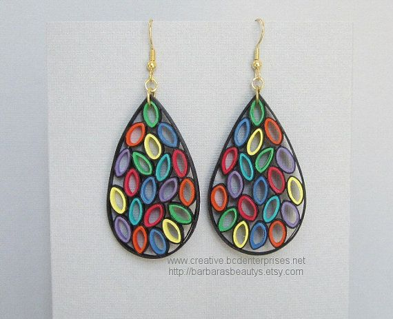 Quilling Earrings Stained Glass Style Large by BarbarasBeautys
